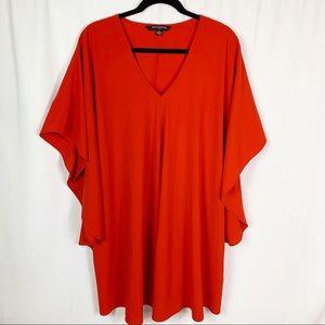 Sharagano Red Batwing Sleeve Shift Dress Sz 10